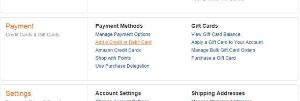 Agregar Tarjeta en Amazon